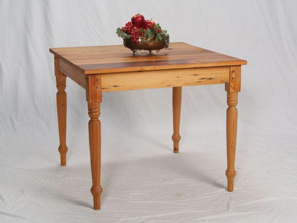 Antique Cypress Cafe Table with Turned Legs