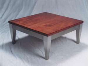 Contemporary Stainless and Mahogany Coffee Table